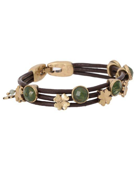 Lucky Brand - Metallic Stone Woven Bracelet (gold) Bracelet - Lyst