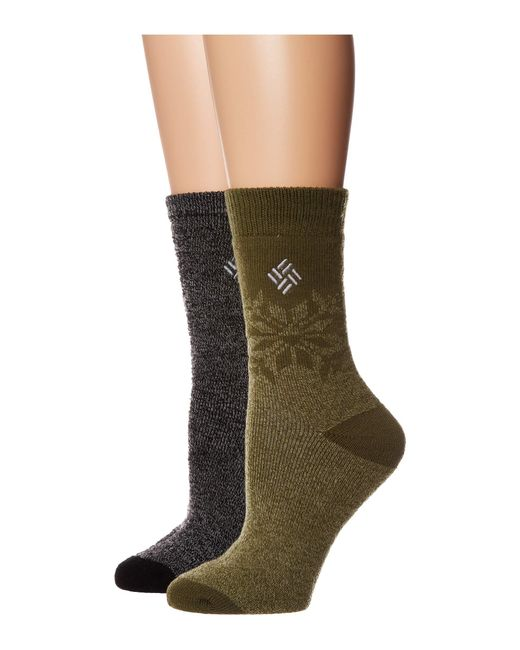 Columbia - Green Midweight Snowflake Thermal 2-pack (dusty Purple Assorted) Women's Crew Cut Socks Shoes - Lyst