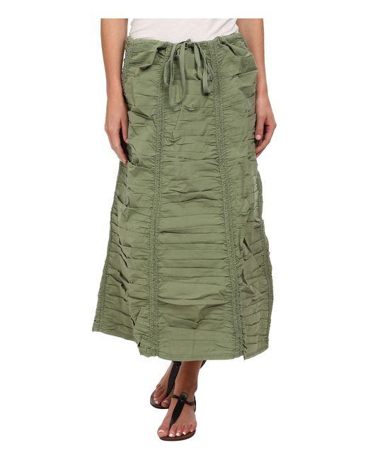 XCVI   Green Stretch Poplin Double Shirred Panel Skirt   Lyst