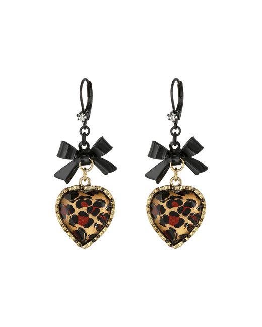 Betsey Johnson | Multicolor Euro Leopard Heart Black Bow | Lyst