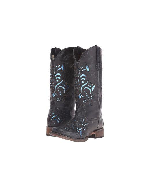 Roper - Black Laser Cut Metallic Underlay Boot (tan/silver) Cowboy Boots - Lyst
