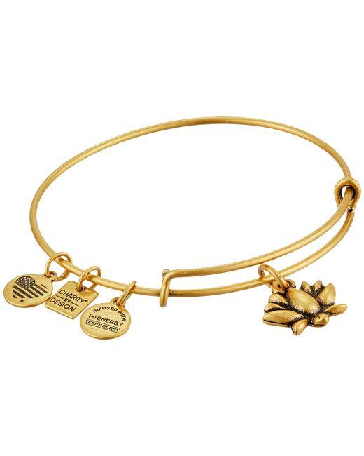 ALEX AND ANI - Metallic Charity By Design Lotus Blossom Charm Bangle (rafaelian Silver Finish) Bracelet - Lyst