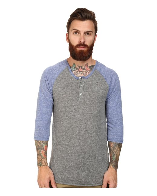 Alternative Apparel | Gray 3/4 Raglan Henley for Men | Lyst