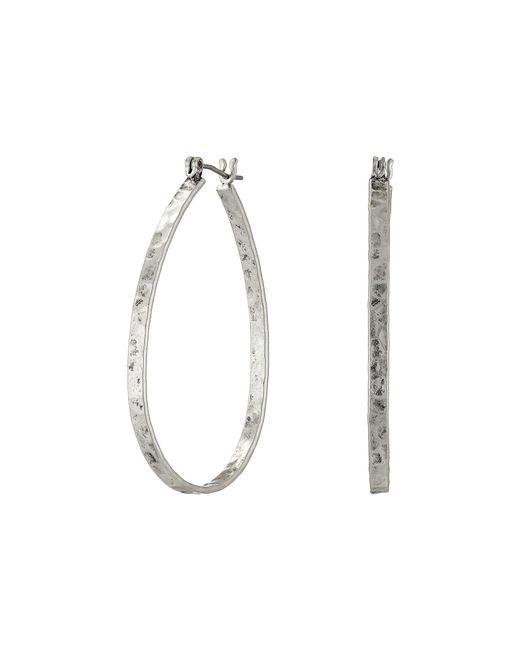 Lucky Brand | Metallic Textured Medium Oblong Hoops | Lyst