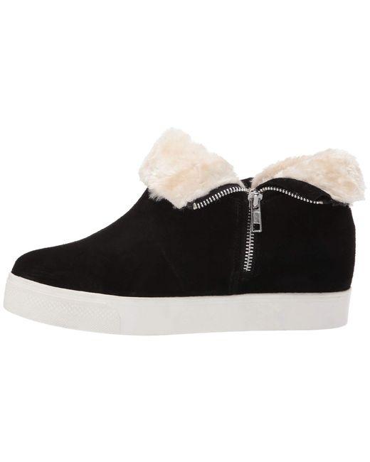 87d48354735 ... Steve Madden - Wanda Wedge Sneaker (black Suede) Women s Wedge Shoes ...