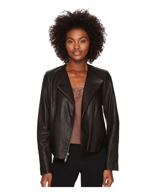 Vince - Black Leather Cross Front Jacket - Lyst