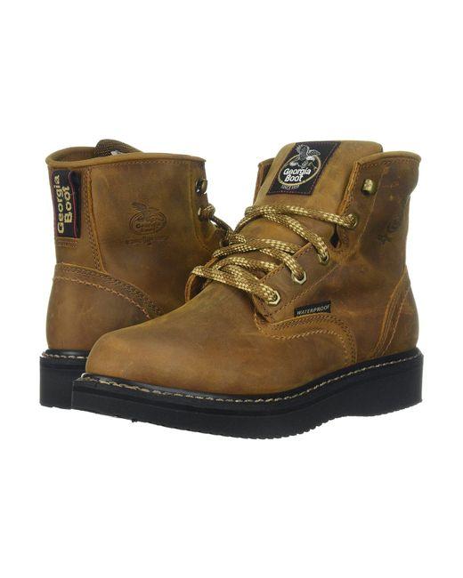 Georgia Boot - 6 Waterproof Wedge (distressed Brown) Men's Work Boots for Men - Lyst