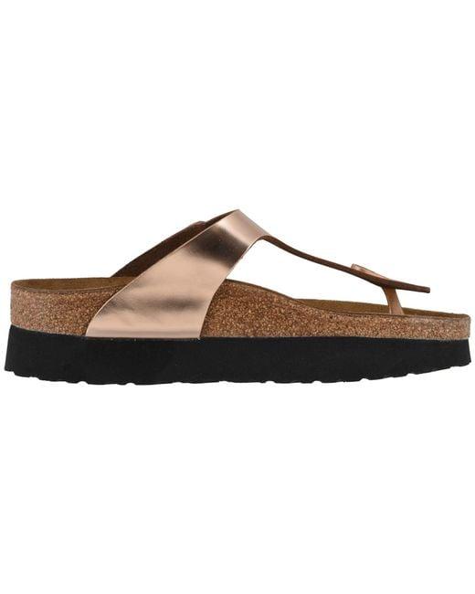 61551cb61a52 ... Lyst Birkenstock - Gizeh Platform By Papillio (metallic Silver Leather)  Women s Shoes ...