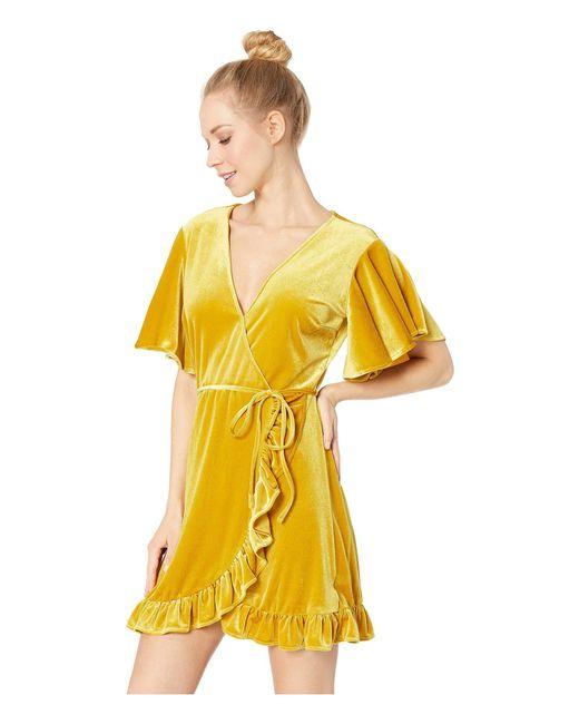 034ab1312b ... Jack BB Dakota - Yellow West Village Velvet Wrap Dress - Lyst ...