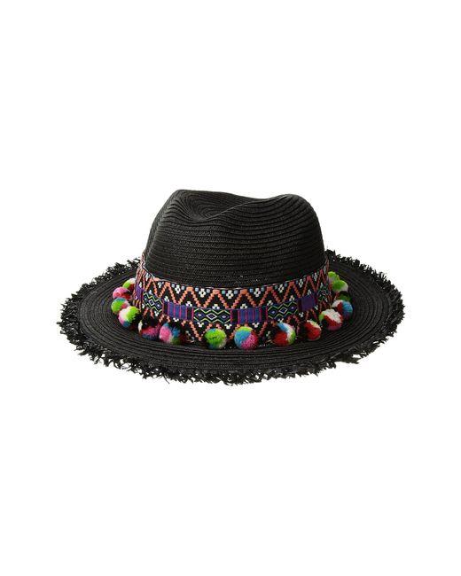 San Diego Hat Company - Ubf1111 Fedora With Multicolor Pom (black) Fedora Hats - Lyst