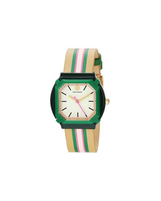 Tory Burch Green Blake Leather Watch Watches