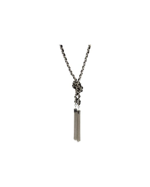 Guess | Metallic Suede Woven Chain Knot Necklace | Lyst