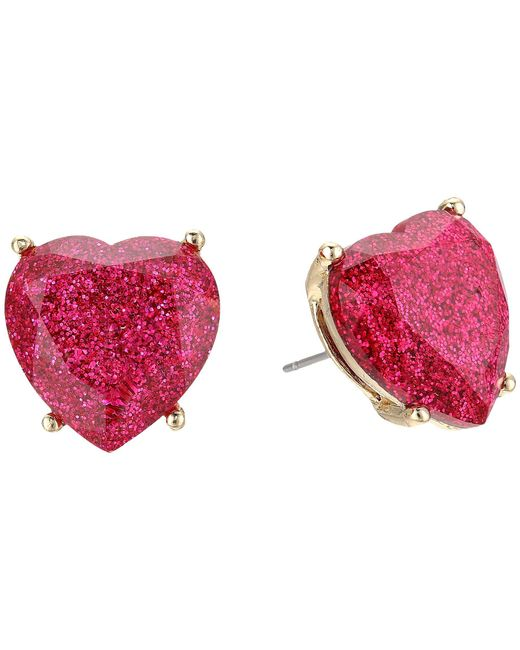 Betsey Johnson - Multicolor Fuchsia Sparkle Heart Stud Earrings (fuchsia) Earring - Lyst