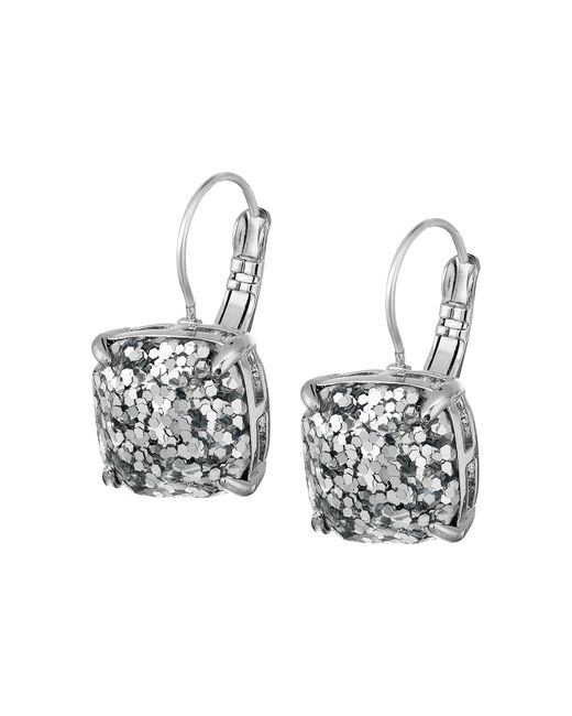 kate spade new york | Metallic Small Square Leverbacks | Lyst