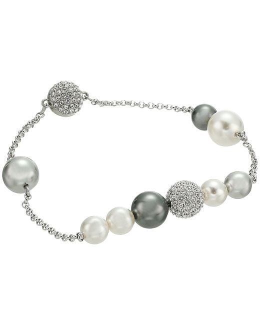 Swarovski - Multicolor Remix Collection Mixed Gray Crystal Pearl Bracelet (dark Multi) Bracelet - Lyst