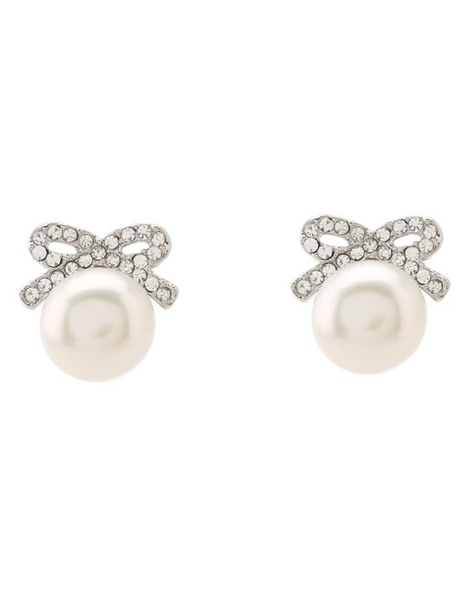 Betsey Johnson | White Crystal Rhodium Pearl Bow Stud Earrings | Lyst
