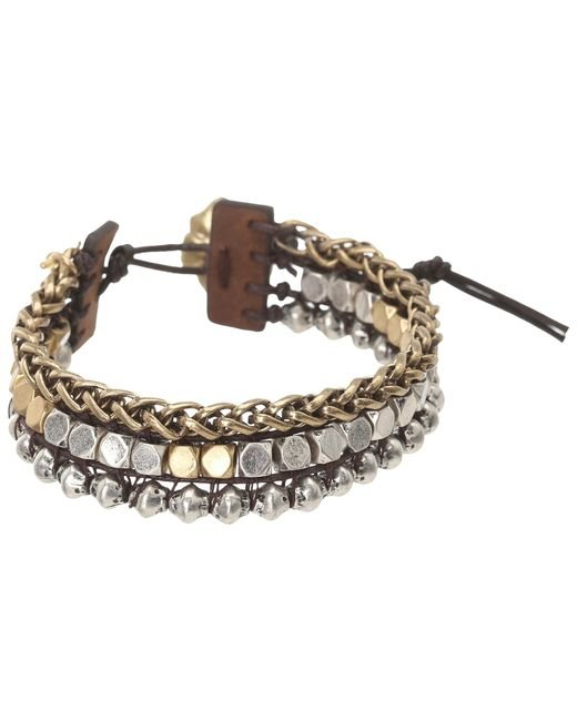 Lucky Brand | Metallic Royal Jewels Mixed Two-tone Faux Wrap Bracelet | Lyst