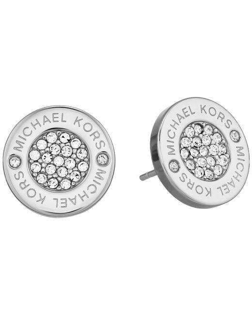 Michael Kors | Metallic Logo With Clear Pavé Center Stud Earring | Lyst