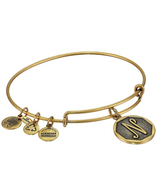 ALEX AND ANI | Metallic Initial N Charm Bangle | Lyst