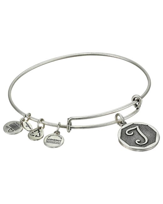 ALEX AND ANI | Metallic Initial T Charm Bangle | Lyst