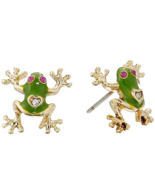 Betsey Johnson - Green Jungle Book Frog Stud Earrings - Lyst