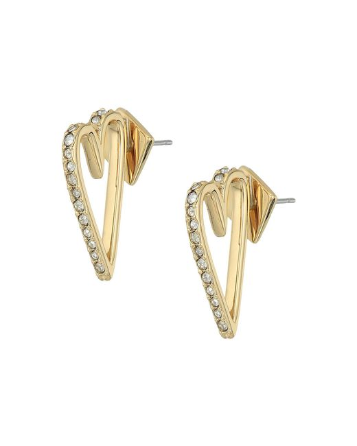 Alexis Bittar - Metallic Abstract Open Heart Stud Earrings With Crystal Accent - Lyst