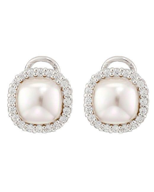 Majorica | Metallic Pearl & Cz Eurowire Earrings | Lyst