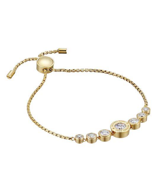 Michael Kors - Metallic Cubic Zirconium Logo Adjustable Bracelet - Lyst