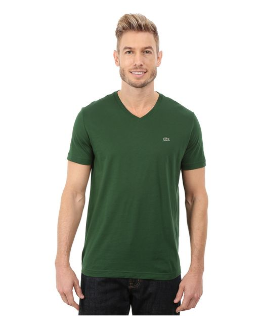 Lacoste | Green Short Sleeve V-neck Pima Jersey Tee Shirt for Men | Lyst