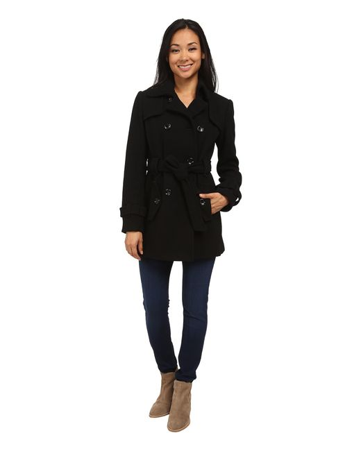 Calvin Klein   Black Double Breasted Belted Wool Trench Coat   Lyst