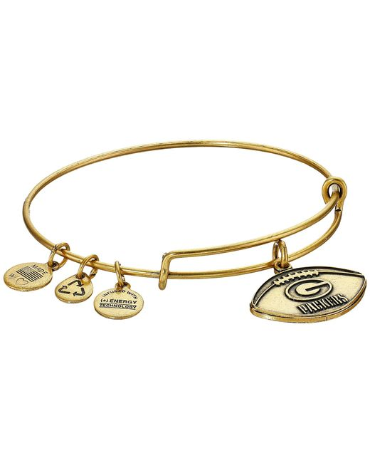 ALEX AND ANI | Metallic Nfl Green Bay Packers Football Bangle | Lyst