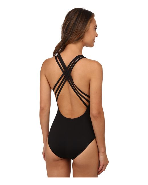 La Blanca | Black Island Goddess Multi Strap Cross-back Mio One-piece | Lyst