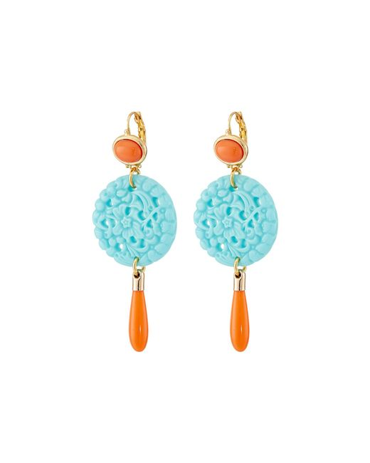 Kenneth Jay Lane | Blue 7849ectcp Small Gold And Top With Carved And Drop Wire Earrings | Lyst