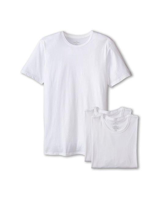 Calvin Klein | Yellow Short Sleeve Cotton Classic Slim Fit Crew for Men | Lyst