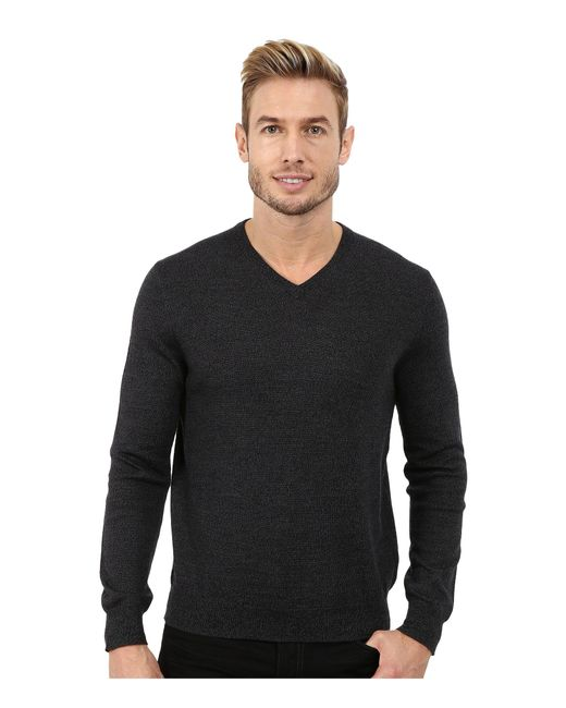 Calvin Klein | Black Solid Merino V-neck Sweater for Men | Lyst
