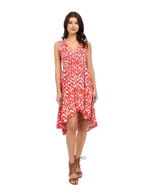 BB Dakota | Red Brianna Jallabah Printed Rayon Dress | Lyst