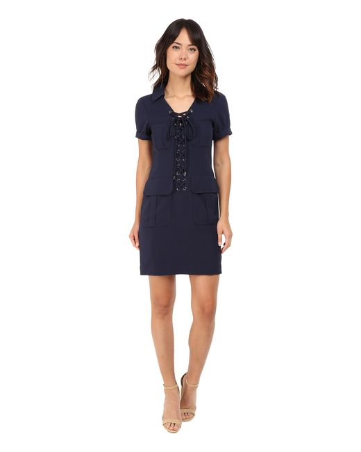 Nanette Lepore Sexy Safari Dress In Blue Navy Lyst