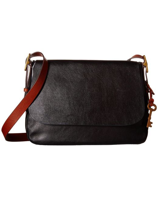 Fossil | Black Harper Large Saddle Crossbody | Lyst