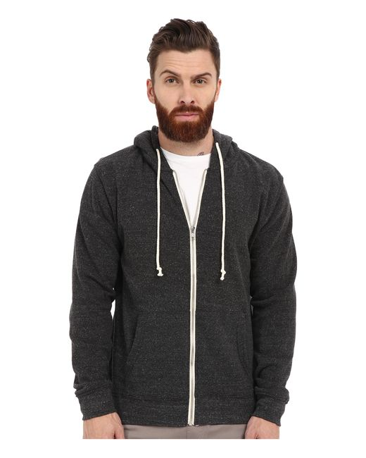 Threads For Thought | Black Triblend Zip Front Hoodie for Men | Lyst