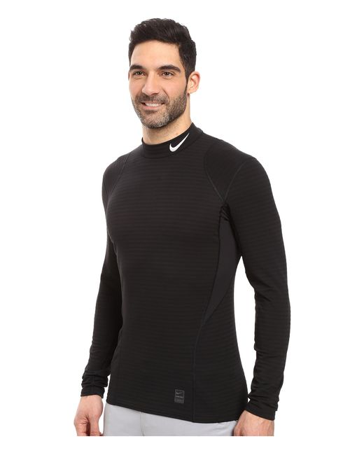 Nike Pro Warm Mock Long Sleeve Training Top In Black For