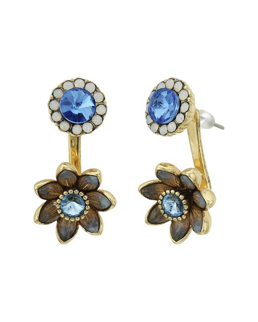 Betsey Johnson | Blue Floral Front Back Earrings | Lyst