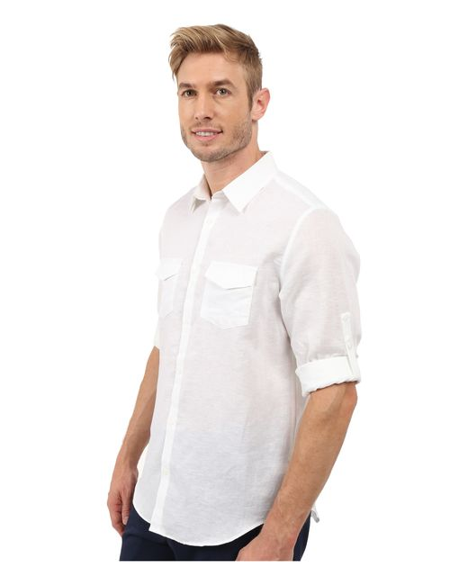 Calvin Klein Classic Fit Linen Roll Up Sleeve Shirt In