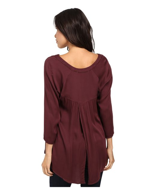 Michael stars romy rayon long sleeve hi low crossback top for Michael stars t shirts on sale