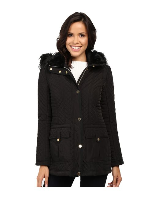 Jessica Simpson | Black Quilted Anorak W/ Removable Hood And Faux Fur | Lyst