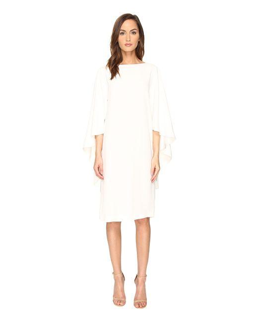 Alberta Ferretti   White Boat Neck Cape Dress   Lyst