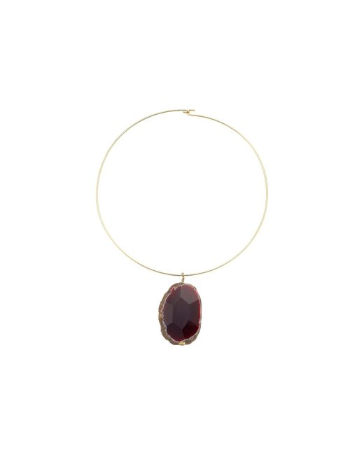 Kenneth Jay Lane | Gold Wire With Natural Agate Stone Necklace | Lyst