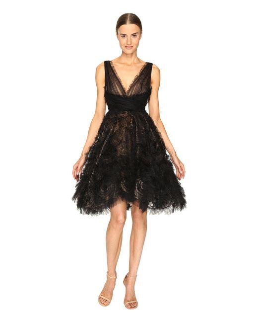 Marchesa | Black V-neck Cocktail In Tulle W/ Voluminous Ruffle Skirt | Lyst