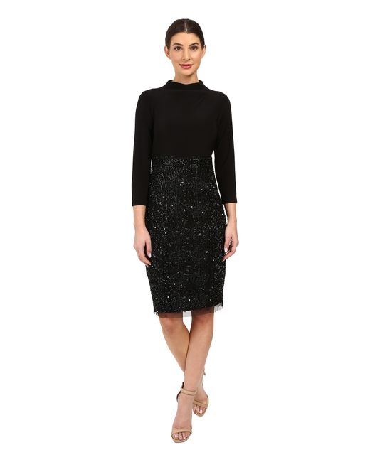 Adrianna Papell | Black Mock Neck Jersey Bodice With Fully Beaded Skirt | Lyst