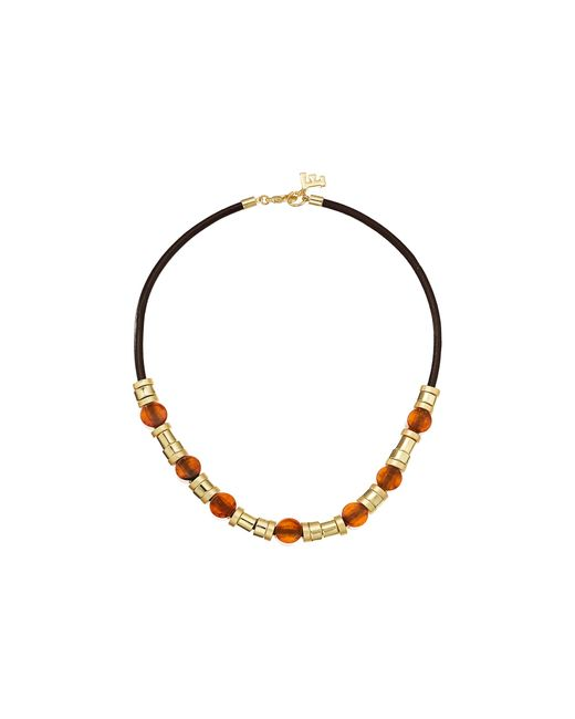 French Connection | Metallic Resin And Metal Tube Bead Mix Frontal Necklace | Lyst