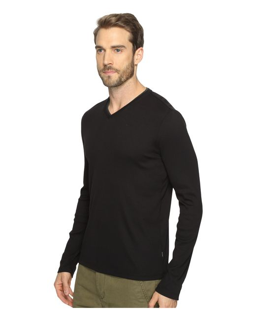 Calvin klein long sleeve rib v neck t shirt in black for for Long sleeve v neck t shirt mens